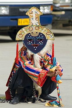 Dancer in traditional garb, Gyantse, Tibet, China, Asia