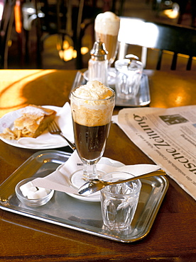 Glass of coffee, Cafe Sperl, Vienna, Austria, Europe