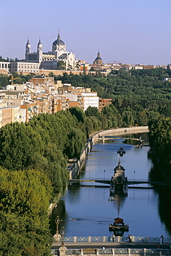 Royal palace and the river Manzanares, Madrid, Spain, Europe