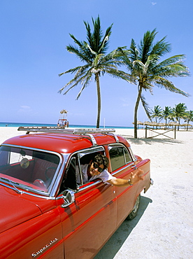 Old American car, Playa del Este (Beach of the East), Havana, Cuba, West Indies, Central America