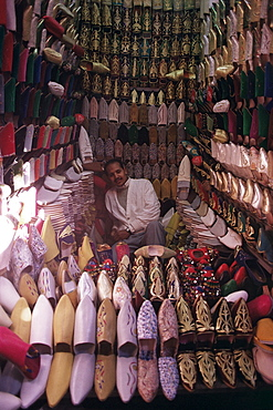 Man selling babouches (slippers), Marrakesh, Morocco, North Africa, Africa