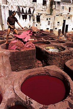 Vats for dyeing animal skins, Tanneries, Fez, Morocco, North Africa, Africa
