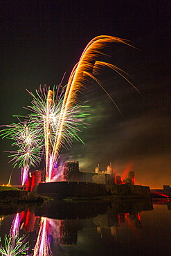 Fireworks, Caerphilly Castle, Caerphilly, South Wales, United Kingdom, Europe