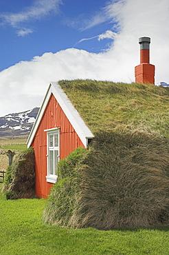 Lindarbakki turf house at Bakkagerdi, Borgarfjordur eystri North East area, Iceland, Polar Regions