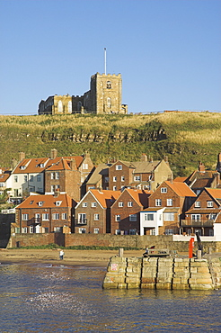 Church, sandy beach and harbour, Whitby, North Yorkshire, Yorkshire, England, United Kingdom, Europe