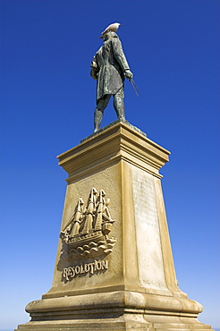 Statue of Captain James Cook, Seafront, Whitby, North Yorkshire, Yorkshire, England, United Kingdom, Europe
