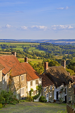 Gold Hill, and view over Blackmore Vale, Shaftesbury, Dorset, England, United Kingdom, Europe