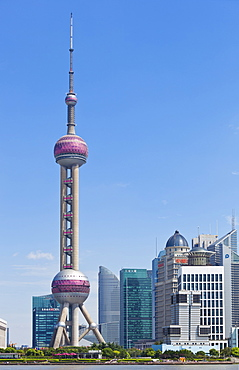 Oriental Pearl TV tower and Pudong skyscrapers, Shanghai, China, Asia