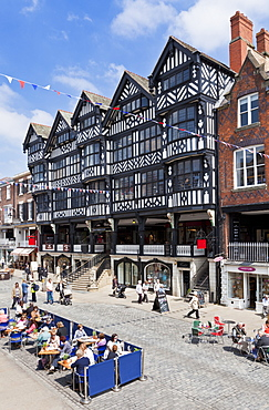 Chester town centre with covered walkways, Chester Rows, Chester, Cheshire, England, United Kingdom, Europe