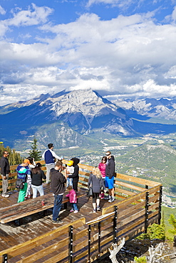 Visitors on a viewing platform on Sulphur Mountain summit overlooking Banff National Park, UNESCO World Heritage Site, Alberta, The Rockies, Canada, North America