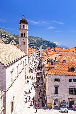 Rooftop view of Main Street Placa, Stradun, Dubrovnik Old Town, Dalmatian Coast, Dubrovnik, Croatia, EU, Europe