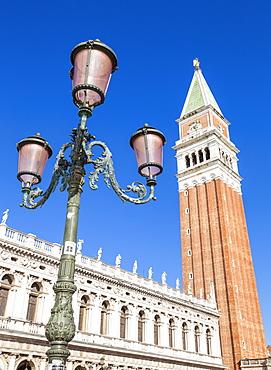 Campanile tower, traditional Venetian lamp post, Piazzetta, St. Marks Square, Venice, UNESCO World Heritage Site, Veneto, Italy, Europe