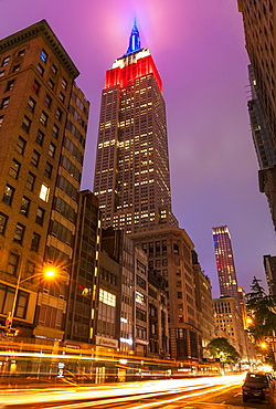 Empire State building at night, Fifth Avenue, traffic light trails, Manhattan, New York, United States of America, North America