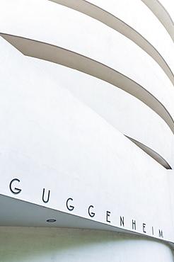 Exterior of Frank Lloyd Wright designed Solomon R Guggenheim Museum, Fifth Avenue, Manhattan, New York City, United States of America, North America