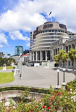 The Beehive, New Zealand Parliament buildings, Wellington, North Island, New Zealand, Pacific
