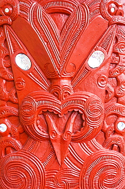 Red Maori carving, Marai meeting house, Whakarewarewa thermal village, Wahiao, Rotorua, North Island, New Zealand, Pacific