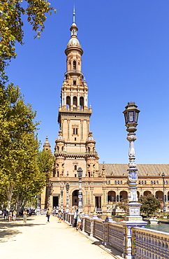 Plaza de Espana North Tower (Torre Norte), Maria Luisa Park, Seville, Andalusia, Spain, Europe
