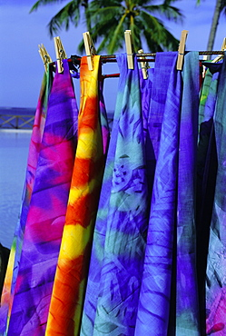 Cloth for sale, Tahiti, Society Islands, French Polynesia, South Pacific Islands, Pacific