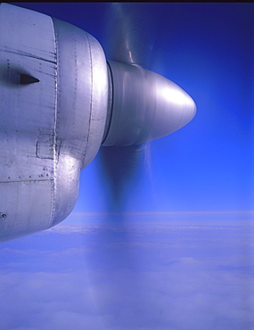 Close-up of an aeroplane engine's propeller blades