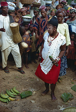 Female witch doctor in market place, Nigeria, Africa