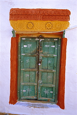 Painted window, Barmer, Rajasthan, India, Asia
