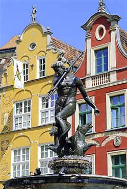 Long Market Square, Neptune fountain, old town, Gdansk, Poland