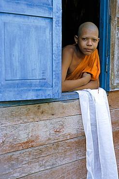 Novice monk, Buddhist monastery at Angkor, Siem Reap, Cambodia, Indochina, Southeast Asia, Asia