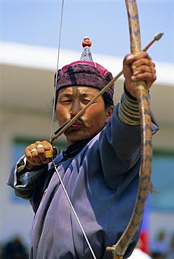 Archer at the Naadam Festival, Ulaan Baatar (Ulan Bator), Mongolia, Asia