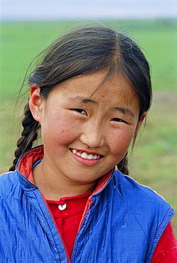 Portrait of a girl, Ovorkhangai Province, Mongolia, Asia