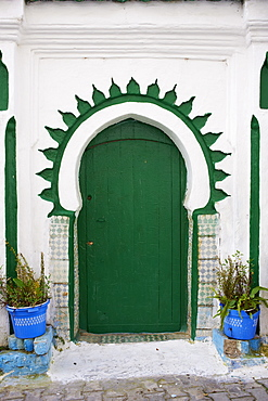 Door in the Medina (Old City), Tangier (Tanger), Morocco, North Africa, Africa