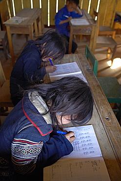Black Hmong ethnic group kids at school, Sapa area, Vietnam, Indochina, Southeast Asia, Asia