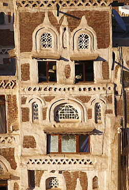 Elevated view of house architecture, Old City of Sanaa, UNESCO World Heritage Site, Yemen, Middle East