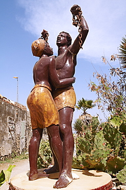The statue of slavery freedom, Goree Island (Ile de Goree), UNESCO World Heritage Site, Senegal, West Africa, Africa