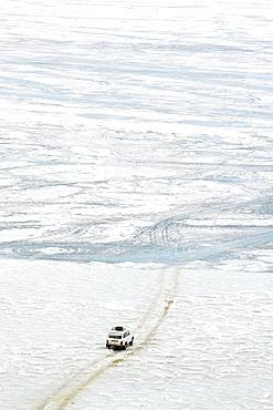 Driving on the lake, Maloe More (Little Sea), frozen lake during winter, Olkhon island, Lake Baikal, UNESCO World Heritage Site, Irkutsk Oblast, Siberia, Russia, Eurasia