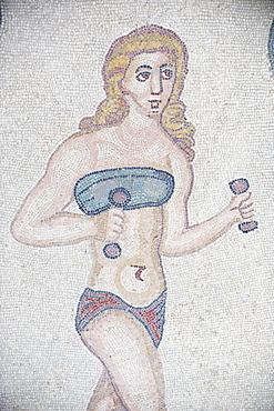 Mosaic of girls in bikinis, Villa Romana del Casale, Piazza Armerina, UNESCO World Heritage Site, Sicily, Italy, Europe