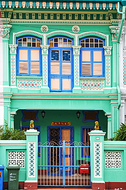 Peranakan houses in Euros District at the east of the city, Singapore, Southeast Asia, Asia