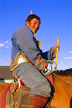 Nomad  on horseback, Naadam Festival, Altai, Gov-altai, Mongolia
