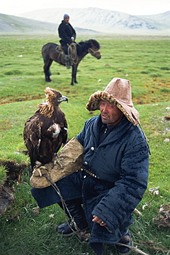 Portrait of an eagle breeder in traditional clothing, with his bird, Kazakh, Bayan-olgii, Khovd Gol valley, Mongolia, Central Asia, Asia