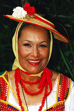 Portrait of a woman wearing traditional dress during Corpus Christi celebration, La Orotava, Tenerife, Canary Islands, Spain, Atlantic, Europe