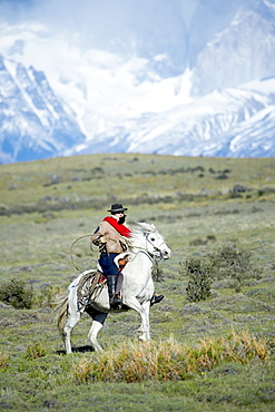 A gaucho riding his horse with Cuernos del Paine (Horns of Paine) mountains in the background, Torres del Paine National Park, Patagonian Andes, Patagonia, Chile, South America
