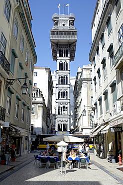 Santa Justa elevator, built by Gustave Eiffel, Lisbon, Portugal, Europe