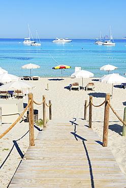Wooden bridge leading to Ses Illetes beach, Formentera, Balearic Islands, Spain, Mediterranean, Europe