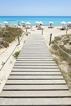 Wooden bridge leading to Mitjorn beach, Formentera, Balearic Islands, Spain, Mediterranean, Europe