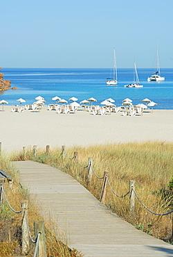 Wooden bridge leading to Cala Saona, Formentera, Balearic Islands, Spain, Mediterranean, Europe