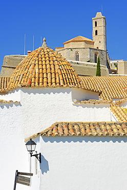 Ibiza Cathedral and Santo Domingo Convent, Old Town (Dalt Vila), UNESCO World Heritage Site, Ibiza, Balearic Islands, Spain, Europe