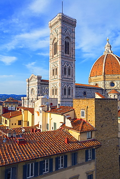 Roof top view of Unesco's Duomo Santa Maria del Fiore, Giotto's Campanile and Brunelleschi's dome, Florence, Tuscany, Italy, Europe