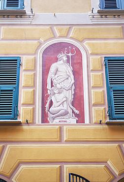 Traditional Ligurian house facade, Camogli, Riviera di Levante, Liguria, Italy, Europe