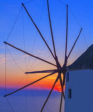 Windmill at sunset, Oia, Santorini, Cyclades Islands, Greek Islands, Greece, Europe