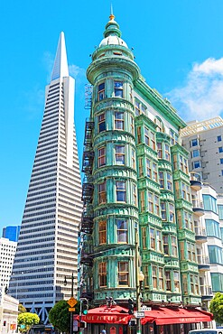 View of Columbus Tower and TransAmerica Building, San Francisco, California, United States of America, North America