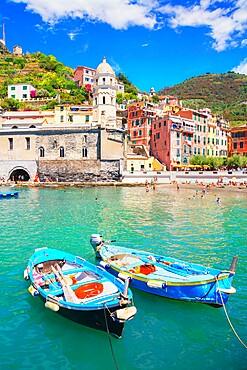 Fishing boats and harbor, Vernazza, Cinque Terre, Liguria, Italy, Europe
